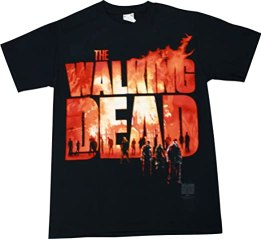The Walking Dead Two Fire Logo T-Shirt, Large, Black