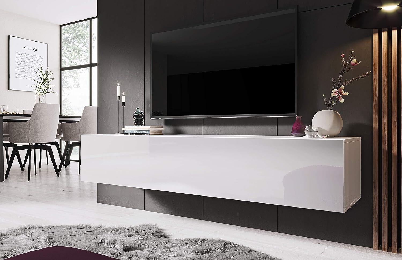 Modern Floating Tv Unit Ziga White 160cm Amazon Co Uk Electronics