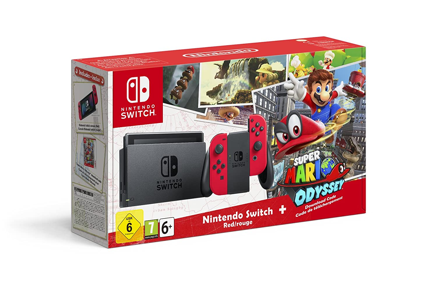 Nintendo Switch Mario Odyssey avec Joy con rouge