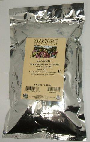 Ashwagandha Root C/S Organic Starwest Botanicals 1 lb