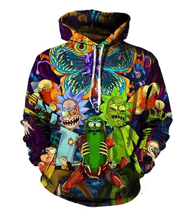 Hippie Hoodies 3D Hoodies Cartoon Rick and Morty Printed Women/Men Hip Hop Hoody Streetwear Hooded Sweatshirts (Color as The Picture, Small)