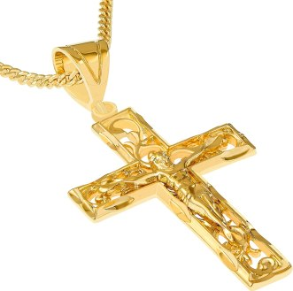 Crucifix Necklace, Filigree Cross Pendant, 24K Gold Over Bronze, Resists  Tarnishing, Guaranteed for Life, on 20 Inch Chain,: Amazon.ca: Jewelry