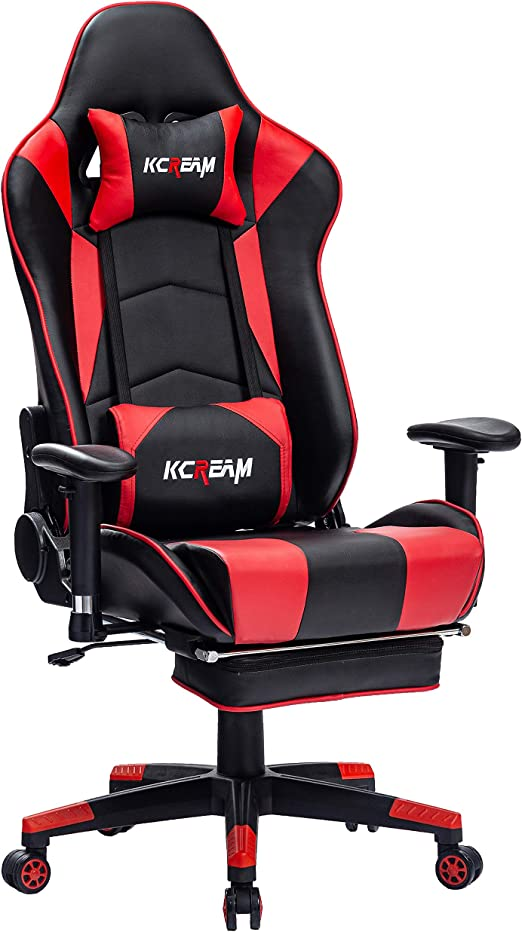 Amazon Com Kcream Gaming Chair Premium Pvc Leather E Sports Gamer Chair Ergonomic High Back Reclining Gaming Computer Chair Office Pc Chair With Adjustable Footrest And Armrests Red Kitchen Dining