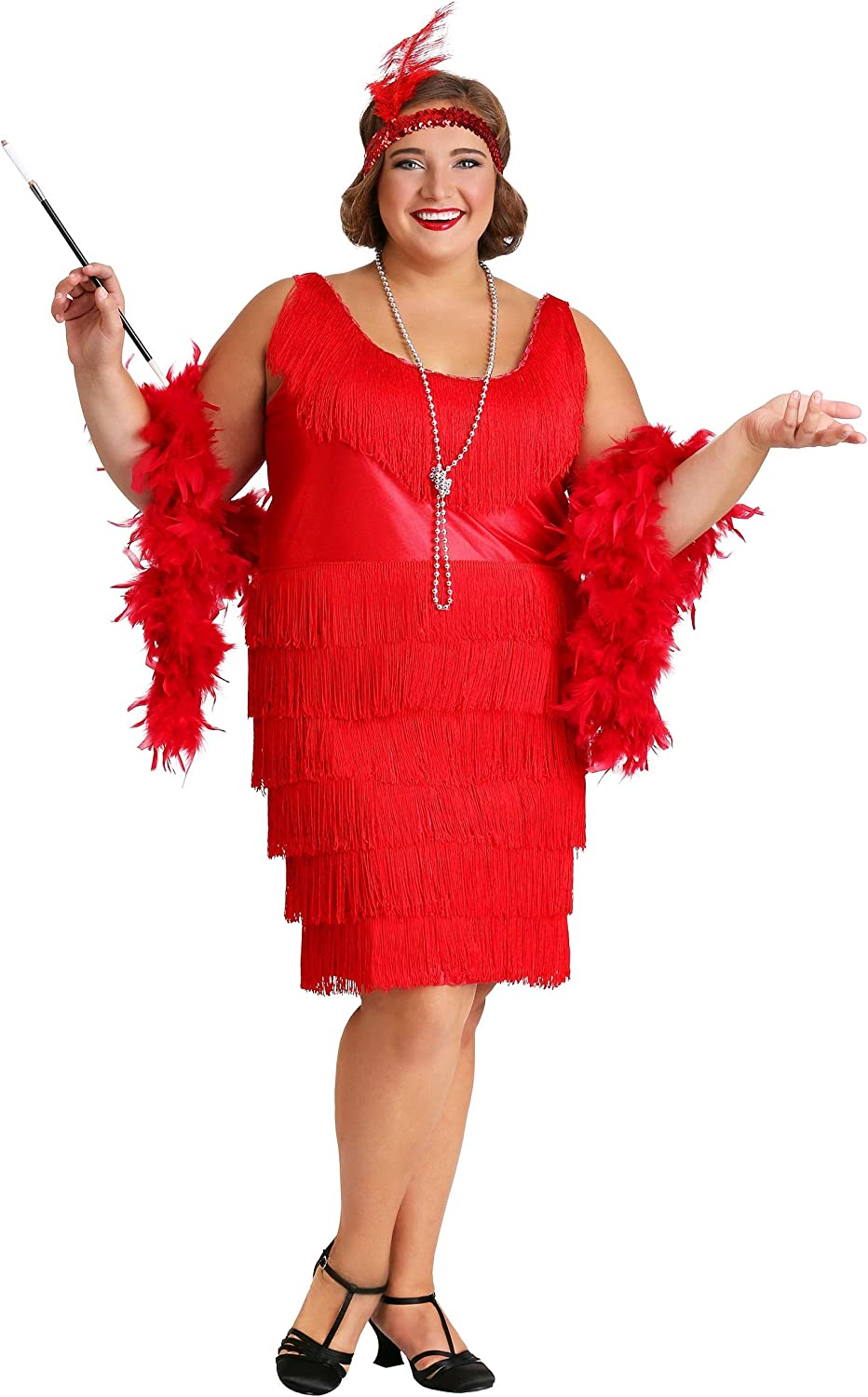 Amazon.com: Womens Red Plus Size Flapper Dress Red Flapper Costume ...