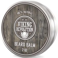 Beard Balm with Argan Oil & Mango Butter - Styles, Strengthens & Softens Beards & Mustaches - Citrus Scent Leave in Conditioner Wax for Men by Viking Revolution (1 Pack)