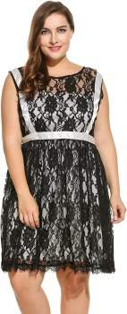 Meaneor Plus Size Women's Long Sleeve Lace Party Club Dress Black