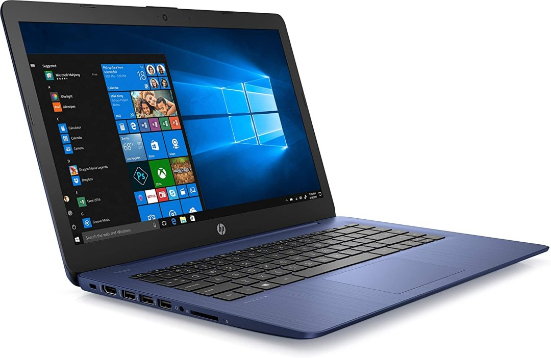 HP - Stream 14-ds0004nf - PC Portable - 14'' HD SVA - Bleu (AMD A4-9120e double cœur, RAM 4 Go, 32 Go, carte graphique AMD Radeon R3, Windows 10 mode S) + AZERTY