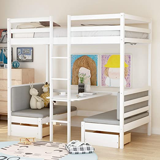 Amazon Com Convertible Loft Bed Twin Wood Loft Bed With Storage Drawers And Desk For Kids And Teens Kitchen Dining