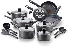 T-fal FBA_A821SI64 Initiatives Nonstick Inside and Out, 18-Piece, Black