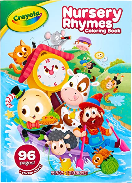 Amazon Com Crayola Nursery Rhymes Coloring Book With Stickers 96 Coloring Pages Gift For Kids Ages 3 4 5 6 Multicolor Toys Games