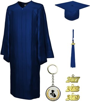 Graduation Cap and Gown and Tassel, Shiny, FIT4GRAD navy blue, size 48