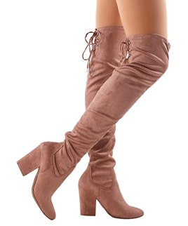 RF ROOM OF FASHION Stretchy Snug Fit Back Corset Lace-up Chunky Heeled Over The Knee Boots - RI03 Taupe Su (10)