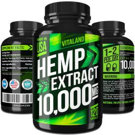 Hemp Oil Capsules 10000MG – 83.3 MG per Capsule – Made in USA – Efficient Pain, Stress & Anxiety Relief – 100% Premium Hemp Oil – Anti Inflammatory – Sleep & Mood Support – Ideal Omega 3, 6, 9 Source