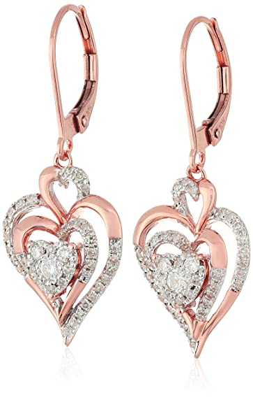 10K Rose Gold Cluster Heart Diamond Earrings (1/2cttw, I-J Color, I2-I3 Clarity)