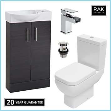 Rak Series 600 Wc Toilet Cistern Pan Black 500mm Slimline Vanity Unit With Waterfall Tap