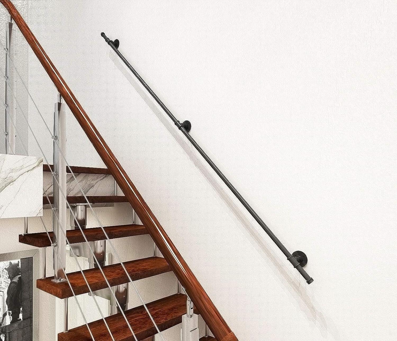 Diyhd 5Ft 3 Wall Support Industrial Black Iron Loft Pipe Handrail | 2 Inch Round Wood Handrail | End Cap | Handrail Brackets | Stairs | Inch Diameter | Stair Railings