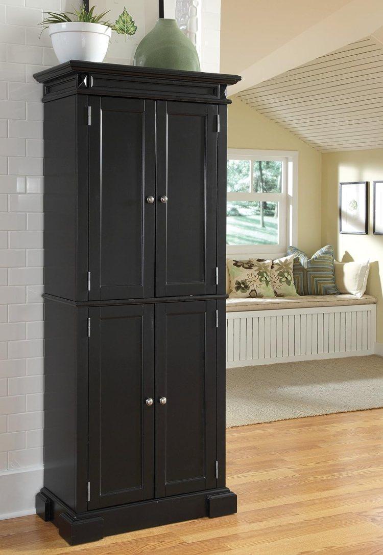 Homcom 70 Modern Free Standing Kitchen Pantry Storage Cabinet Dark Grey Wood Grain