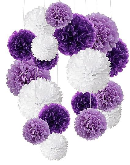 Cocodeko 18 Pezzi Pompon In Carta Velina Decorativo Palla Fiore Per Il Compleanno Decorazione Della Festa Nuziale Viola Lavanda E Bianco