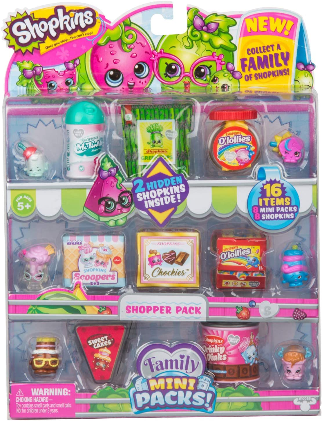 Amazon Com Shopkins New Families In Collectible Mini Pack 16 Piece Toys Games