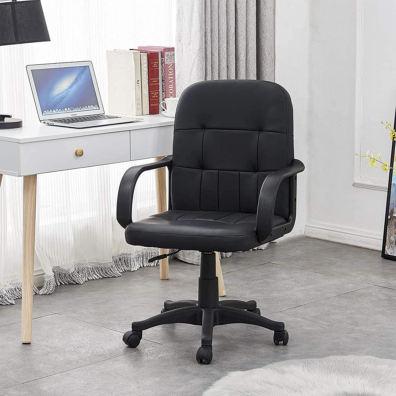 Tonvision Small Swivel Desk Chair With Armrest Mid Back Support Faux Leather Adjustable Lift Stool Computer Desk Workstation Office Chair Reception Black Checks Pattern Amazon Co Uk Kitchen Home