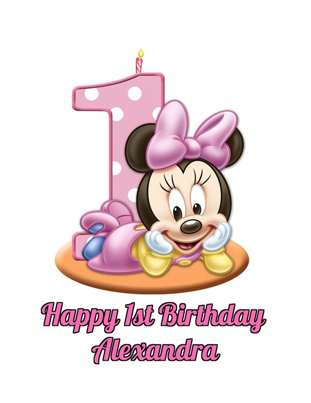 Com Minnie Mouse Girl S 1st Birthday Edible Image Photo Cake