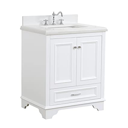 Nantucket 30 Inch Bathroom Vanity Quartz White Includes White Cabinet With