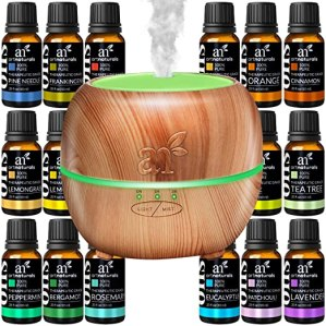 ArtNaturals Aromatherapy Essential Oil and Diffuser Gift Set - (150ml Tank & Top 16 Oils) - Peppermint, Tee Tree, Lavender & Eucalyptus - Auto Shut-Off and 7 Color LED Lights - Therapeutic Grade
