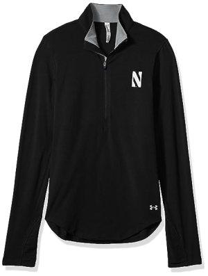 Under Armour NCAA Northwestern Wildcats Women's Cotton Lightweight 1/4 Zip Tee, Medium, Black