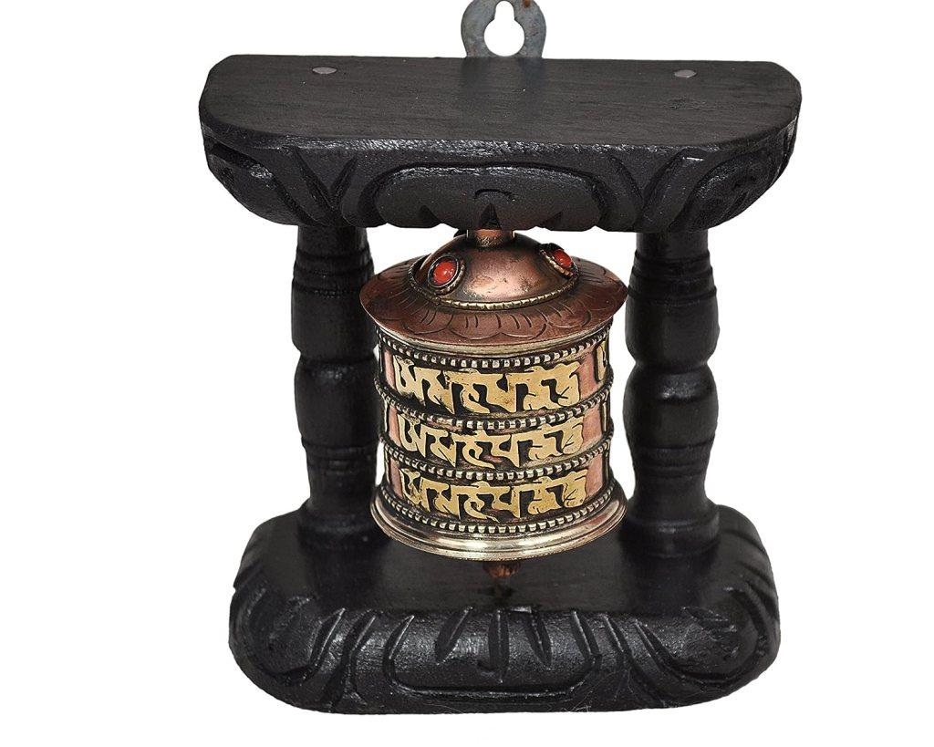 Dharma Store Tibetan Hand Craving Om Mani Padme Hum Wall Hanging Prayer Wheel