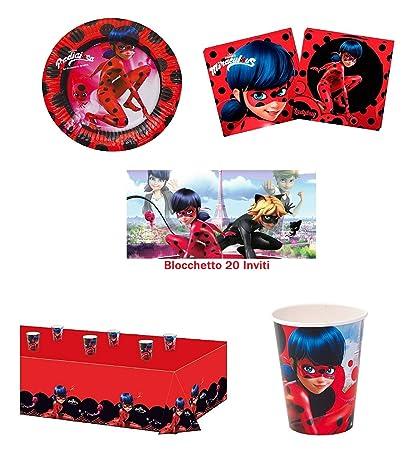 Arcobalenoparty Lady Bug Miraculous Kit 16 Ospiti Con Inviti Compleanno Coordinato Tavola 16 Piatti16 Bicchieri20 Tovaglioli1 Tovaglia20 Inviti