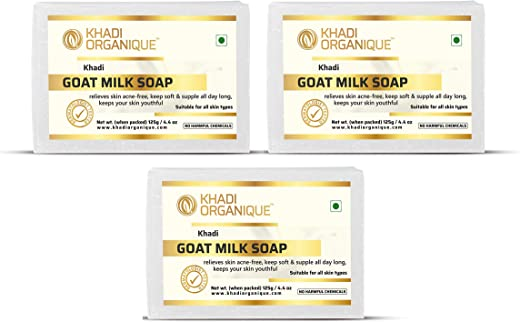Khadi Organique Handmade Herbal Goat Milk Soap - Pack of 3
