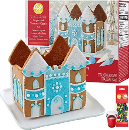 Amazon.com: Gingerbread House Kit; Castle, Build & Decorate it Yourself - Includes House Panels, 3 Types of Candies, Icing, Colorful Light Bulb Candy, Blue Decorating Sugar, Bundled With (4) SEWANTA Candy Cup