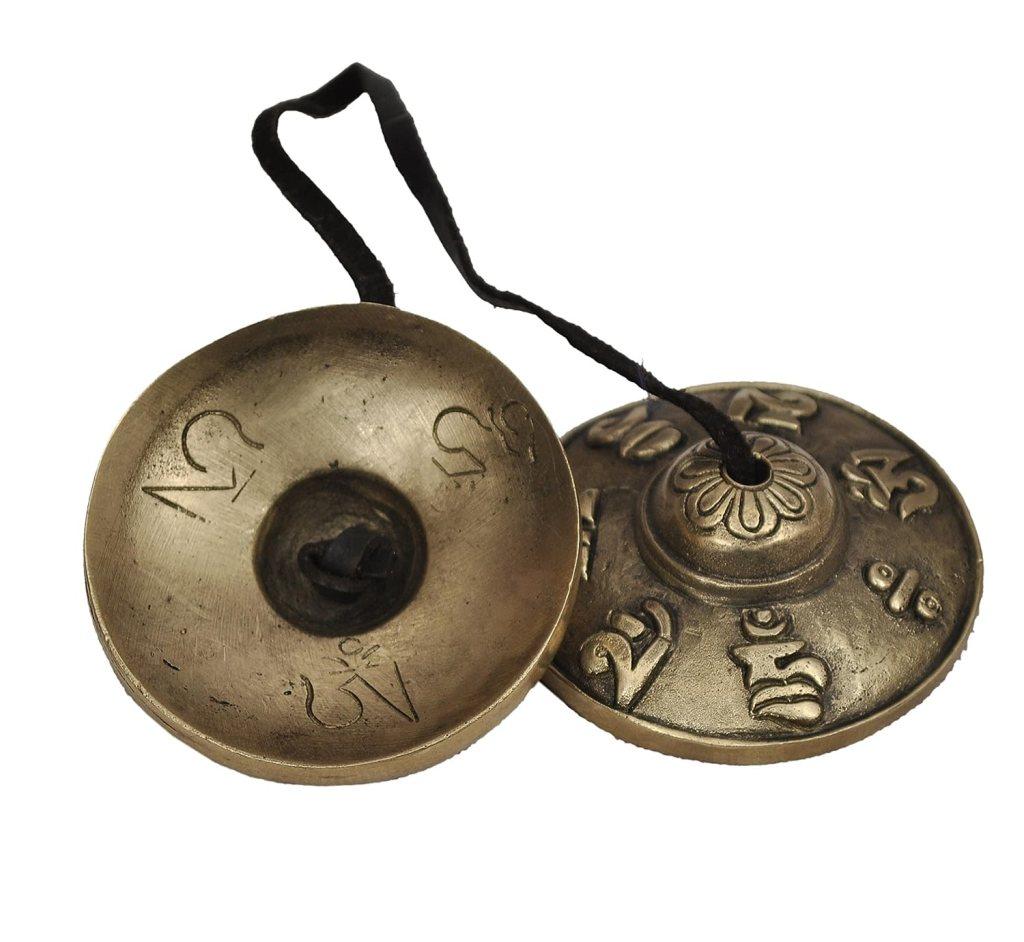 Dharma Store – Tibetan Tingsha Cymbals – 6.6 cm – OM Mane Padme Hum Symbols Embossed