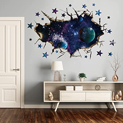 Buy 3d Galaxy Blue Cosmic Milky Way Wall Stickers Holengs Outer Space Planets Simulation Crack Hole Wall Decals Starry Sky Wall Decor For Boys Kids Bedroom Living Room Nursery Wall Decoration Online