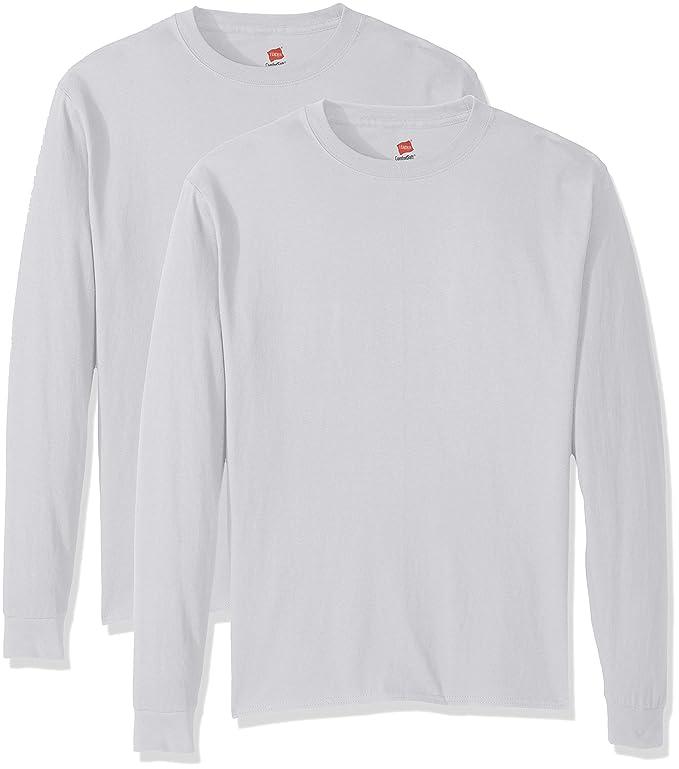 Hanes Men's Comfortsoft Long-Sleeve T-Shirt (Pack of 2), White,Large