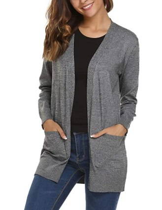 Soteer Women's Casual Open Front Knit Cardigan Sweater with Pockets (Grey,L)