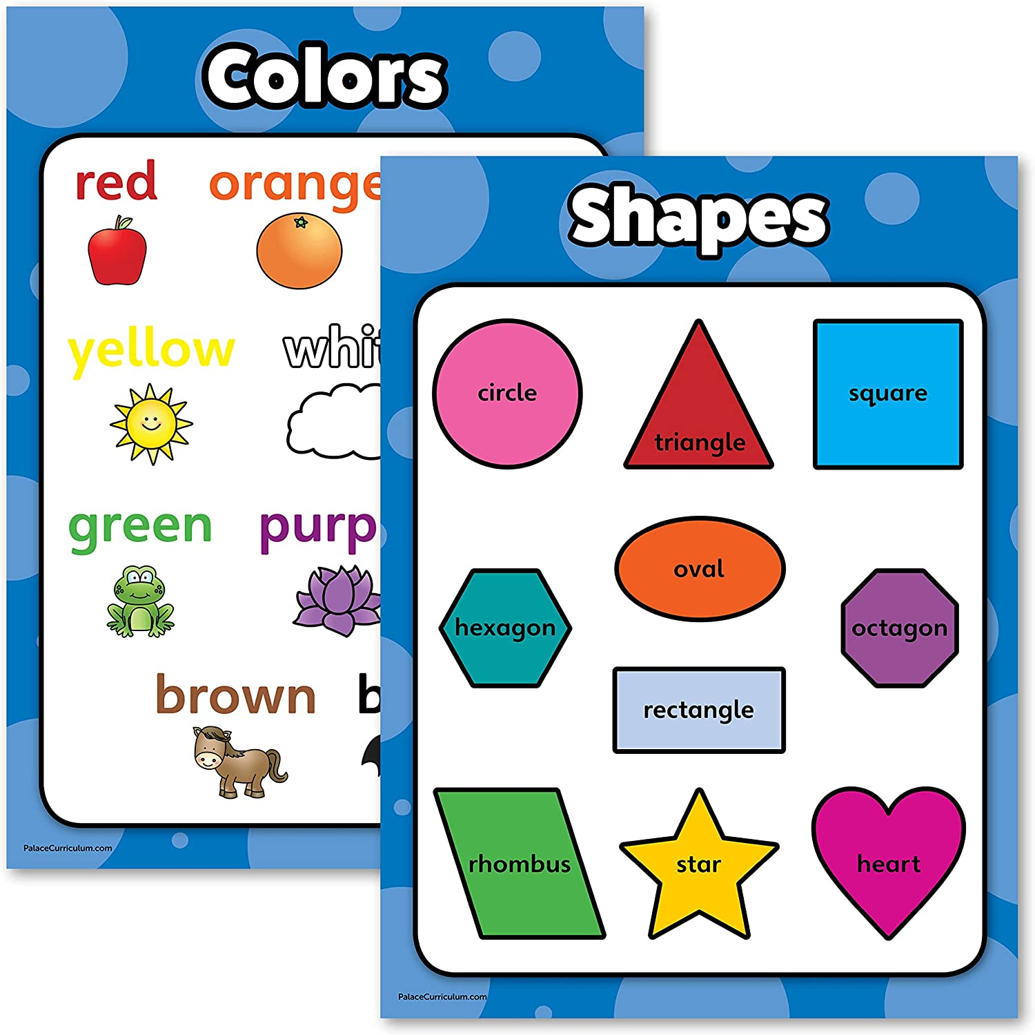 Amazon Com Shapes Colors Poster Chart Set For Kids Laminated Double Sided 18x24 Office Products