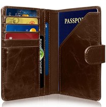 RFID Blocking Passport Holder (9 Slots), GreatShield Theft Proof Leather Wallet [5 Credit Card Slots | 3 Cash Compartments | 1 Passport Slot] for Men & Women – Brown