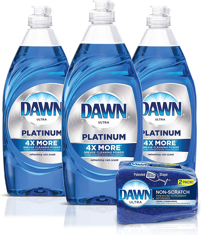 Amazon Com Dawn Platinum Dishwashing Liquid Dish Soap 3x24oz Non Scratch Sponge 2 Count Refreshing Rain 1 Set Health Personal Care