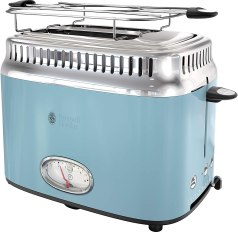 REDMOND 2 Slice Toaster Retro Stainless Steel Toaster with Bagel, Cancel, Defrost Function and 6 Bread Shade Settings Bread Toaster