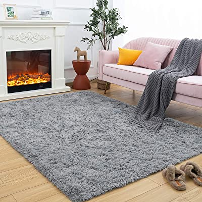 Buy Maxsoft Fuzzy Rugs For Living Room Grey Shag Rugs For Bedroom 5 X 8 Feet Fluffy Room Carpets For Girls Kids Plush Furry Area Rugs For Nursery Bedside Floor Online In