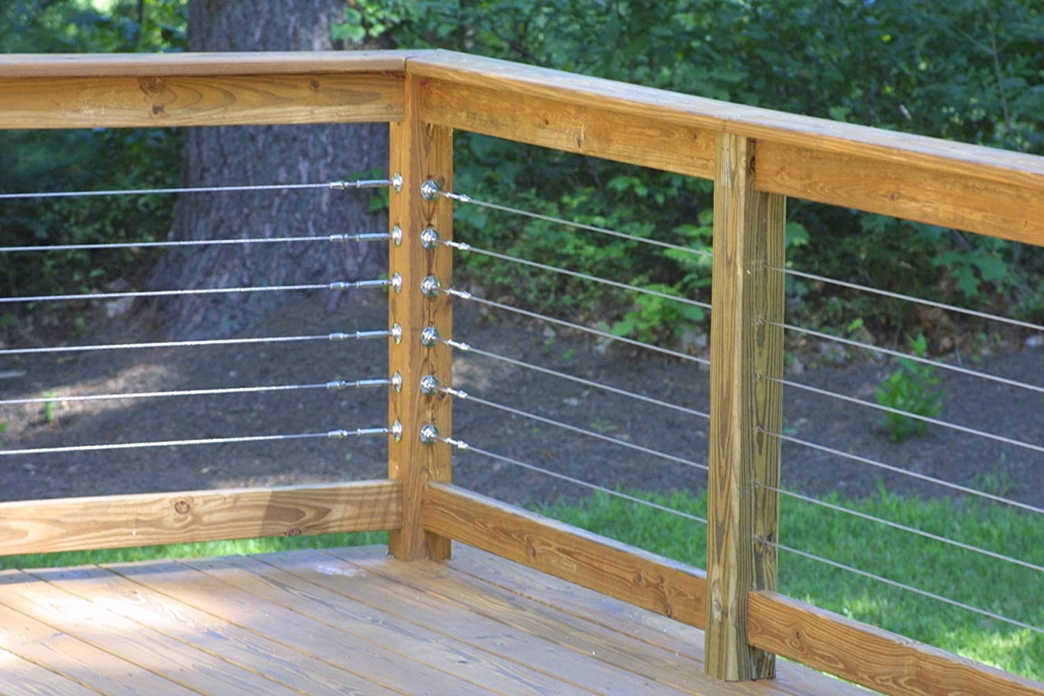 Raileasy Turnbuckle For Cable Railing S0981 0004 Decking | Wood And Wire Stair Railing | Before And After | Coastal | Natural Wood | Residential | Utility Panel