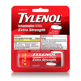 TYLENOL Extra Strength Pain Reliever Caplets, Travel Size Medicine with Acetaminophen 500 mg for Fast Acting Pain and Headache Relief, 10 ea (Pack of 2)
