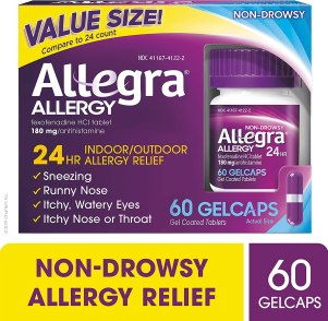 Allegra Allergy 24 Hour Gelcaps 180 mg 60 Count Long-Lasting Fast-Acting Antihistamine for Noticeable Relief
