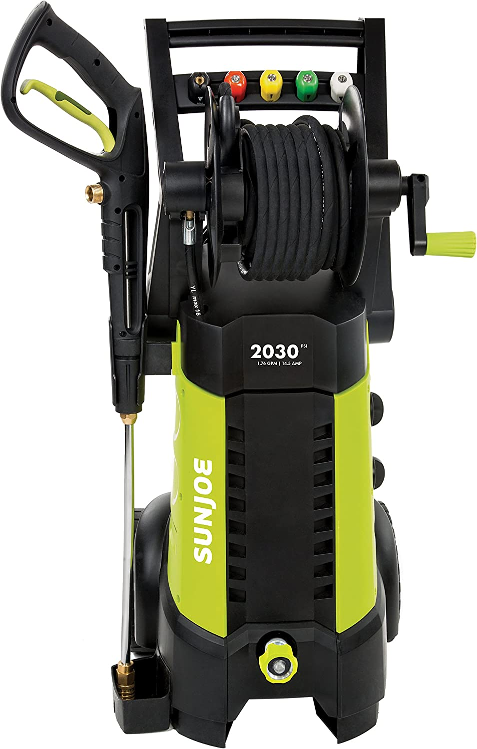 Amazon Com Sun Joe Spx3001 2030 Psi 1 76 Gpm 14 5 Amp Electric Pressure Washer With Hose Reel Green Garden Outdoor