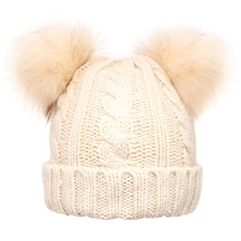 MIRMARU Women's Winter Knitted Faux Fur Double Pom Pom Beanie Hat with Plush Lining.(Ivory)