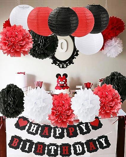 Decorazioni Per Feste Di Compleanno Di Topolino Bianco Decorazioni Per Feste Di Compleanno Di Colore Rosso Nero Forniture Per Feste Di Minnie Carta