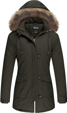 Wantdo Women's Snow Jacket Fur Hooded Cotton Padded Coat(Army Green,Medium)