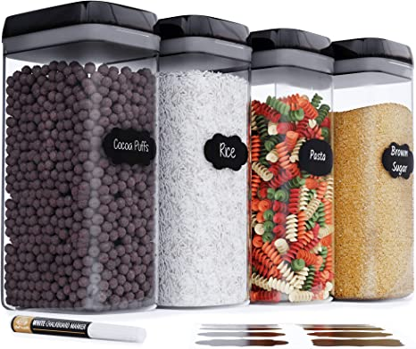 Amazon Com Chef S Path Airtight Extra Large Food Storage Container 4 Pc Set All Same Size Kitchen Pantry Organization Ideal For Cereal Spaghetti Noodles Pasta Flour Plastic Canisters