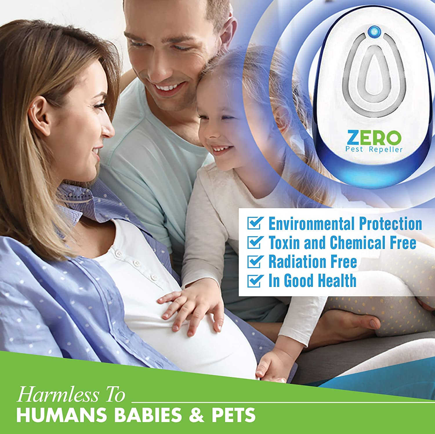 Zeropest Ultrasonic Pest Control Reject Devices Electronic Plug In Repellent Defender